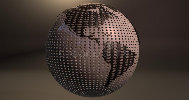 A background of the planet Earth which looks like a ball of golf, which shows the America continent. stock illustration
