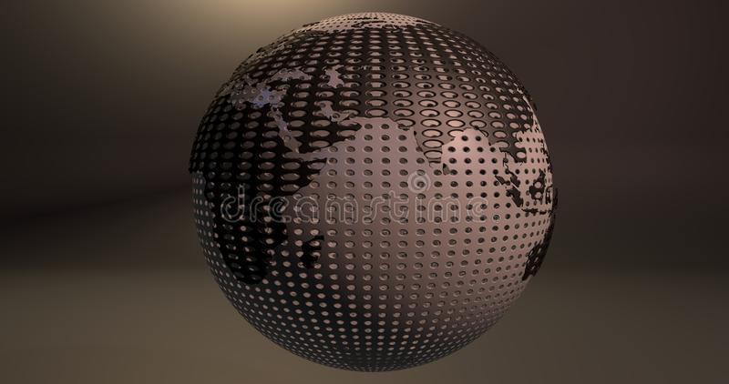 A background of the planet Earth which looks like a ball of golf, which shows the Europe and Asia continents. stock illustration