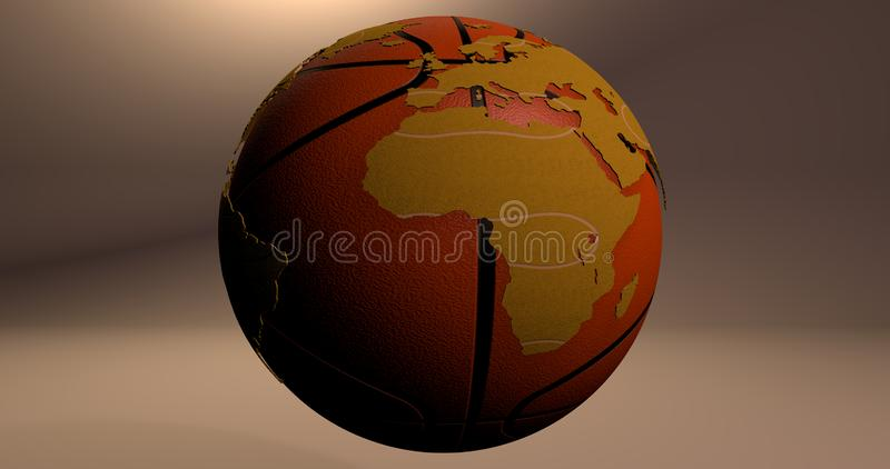 A background with the planet Earth which looks like a basketball, which shows the Africa continent. royalty free illustration