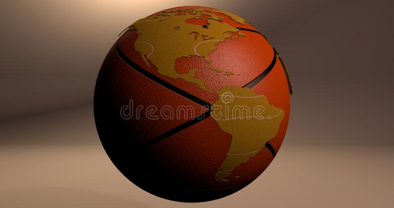 A background with the planet Earth which looks like a basketball, which shows the America continent. royalty free illustration