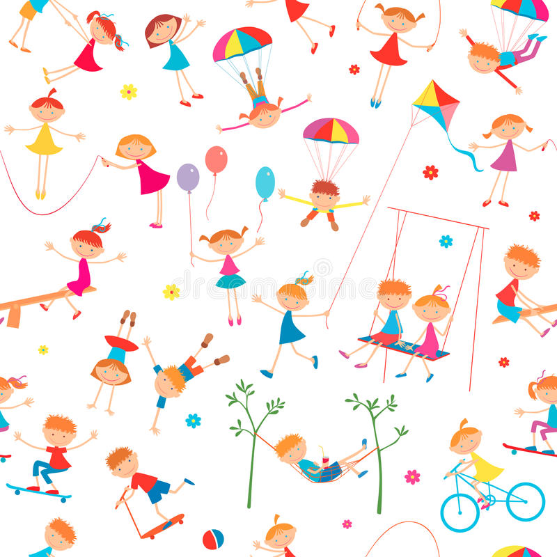 Background with playing children vector illustration