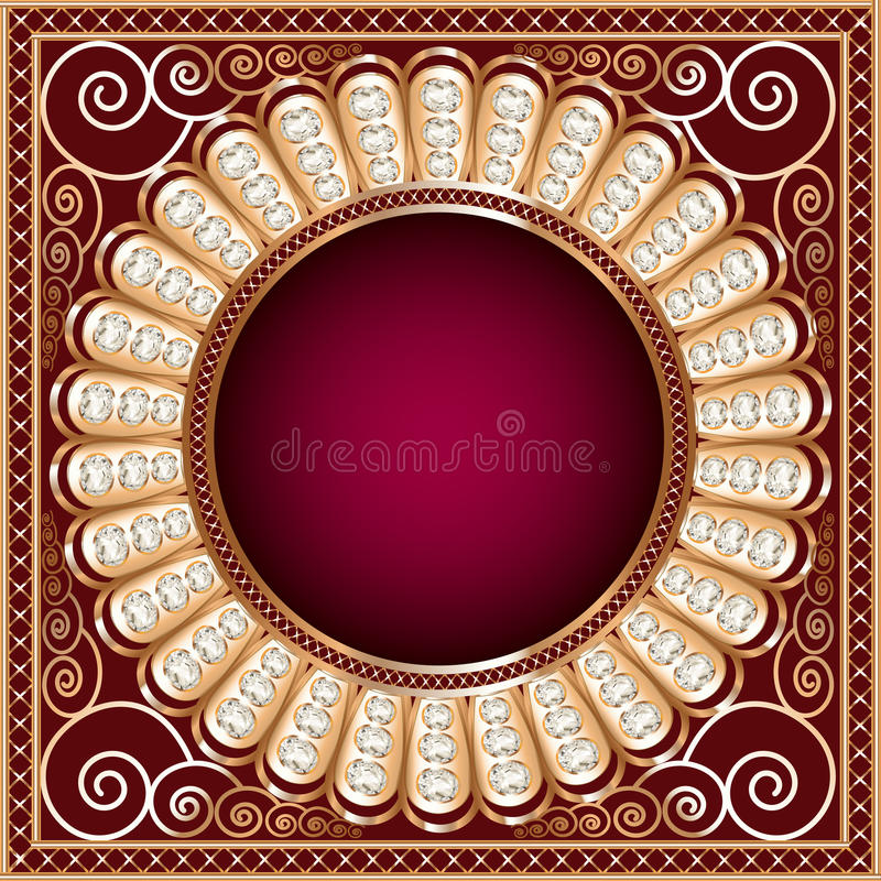 Background  with precious stones, gold pattern in