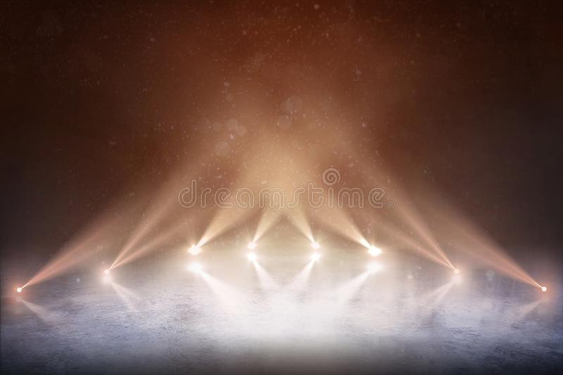 Background. Professional hockey stadium and an empty ice rink with lights. royalty free stock image