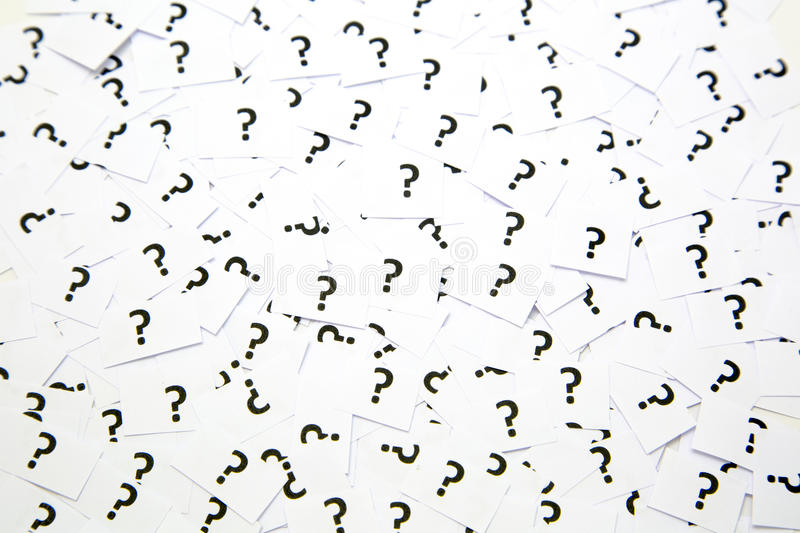 A background of question mark signs. And symbols stock photography