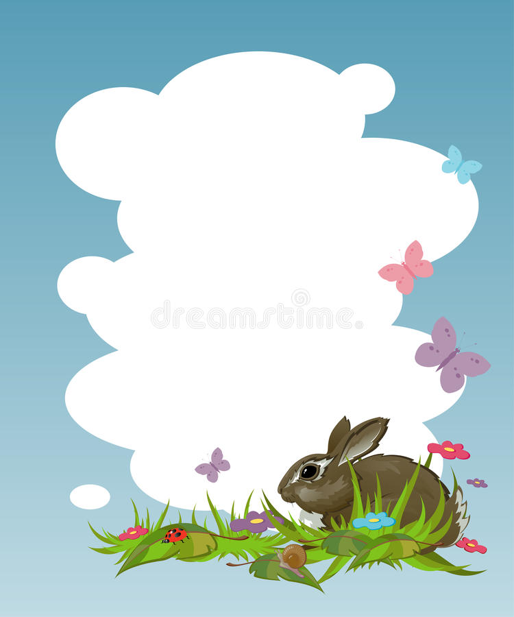 Background with a rabbit on the lawn. EPS 8 vector illustration