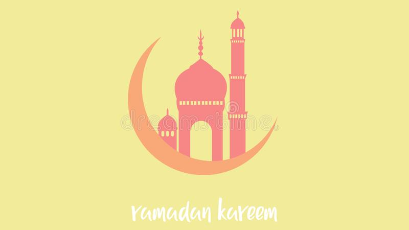 Background of ramadan kareem with the moon and mosque stock illustration