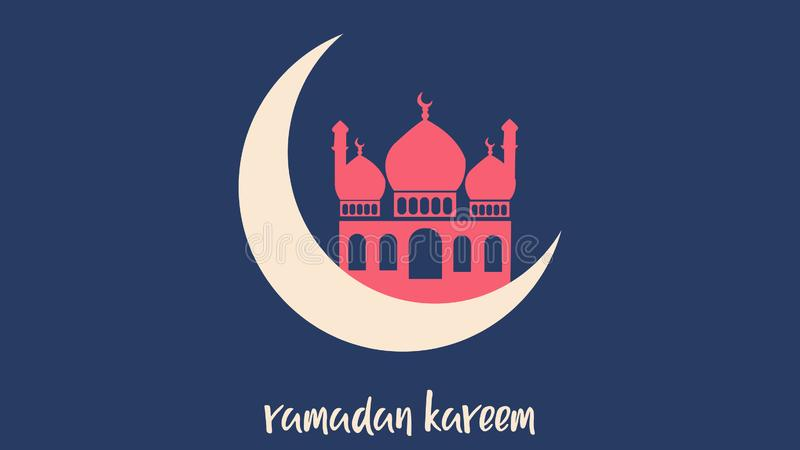 Background of ramadan kareem with the moon and mosque vector illustration
