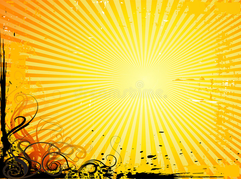 Background with rays and flores. Vector background illustration with sun-ray effect and grunge floral elements royalty free illustration