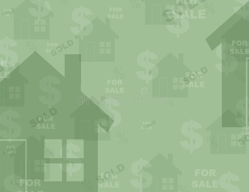 Background - Real Estate. Multil layered Real Estate themed background - houses, dollar signs, percentage signs, for sale & sold