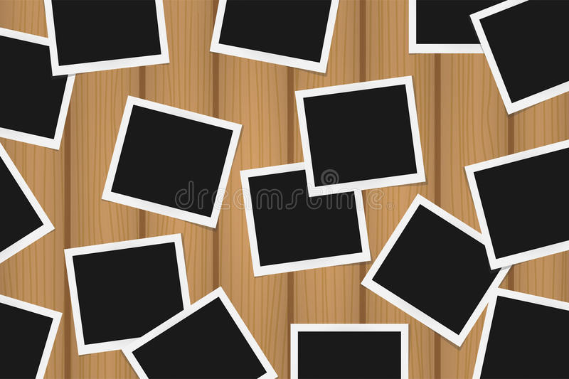 Background of realistic photo frames on brown wooden texture. Template retro photo design stock illustration