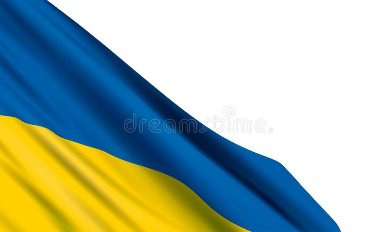 Background with realistic Ukrainian flag on white background. Vector template for Independence Day, Day of the National Flag, Constitution Day, Day of dignity royalty free illustration