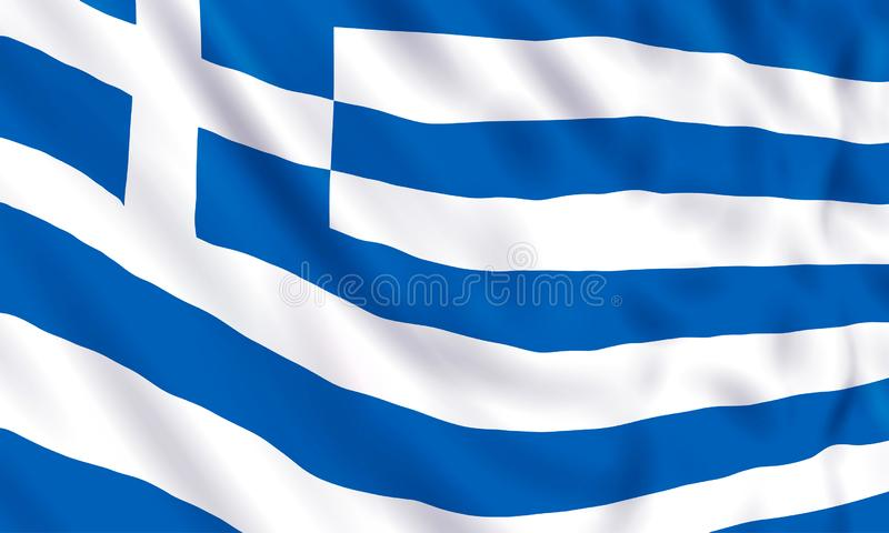 Background with a realistic waving Greece flag. royalty free illustration