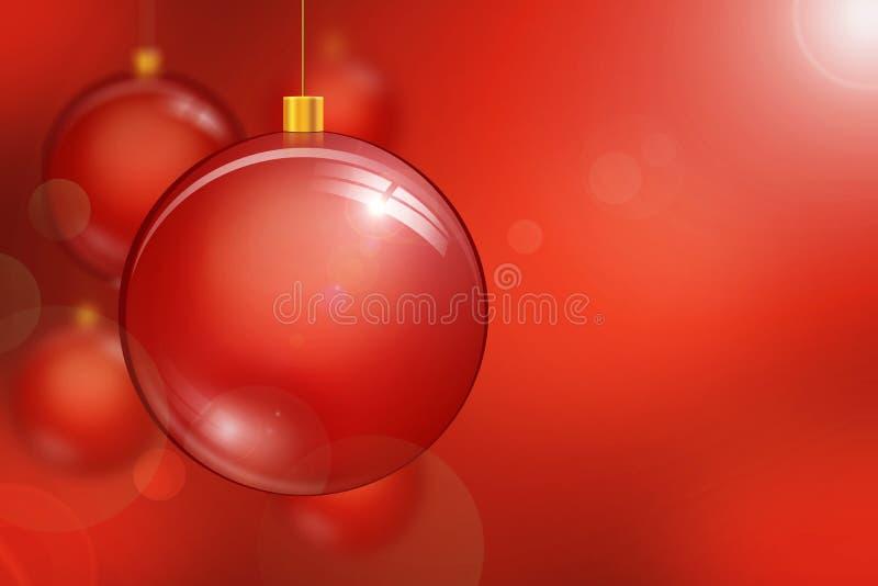 Background red baubles vector illustration