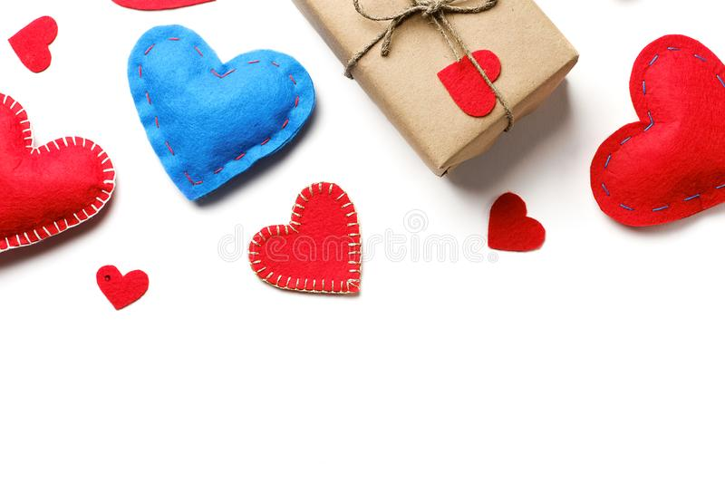Background Of Red And Blue Hearts Or Valentines, On A White Background. A Gift For The Holiday Of Valentine`s Day, Handmade.  stock image