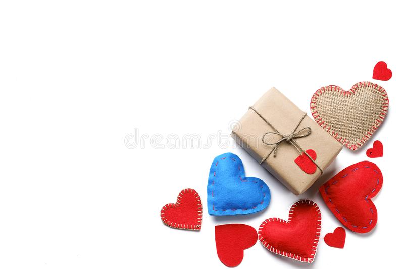 Background Of Red And Blue Hearts Or Valentines, On A White Background. A Gift For The Holiday Of Valentine`s Day, Handmade.  royalty free stock images