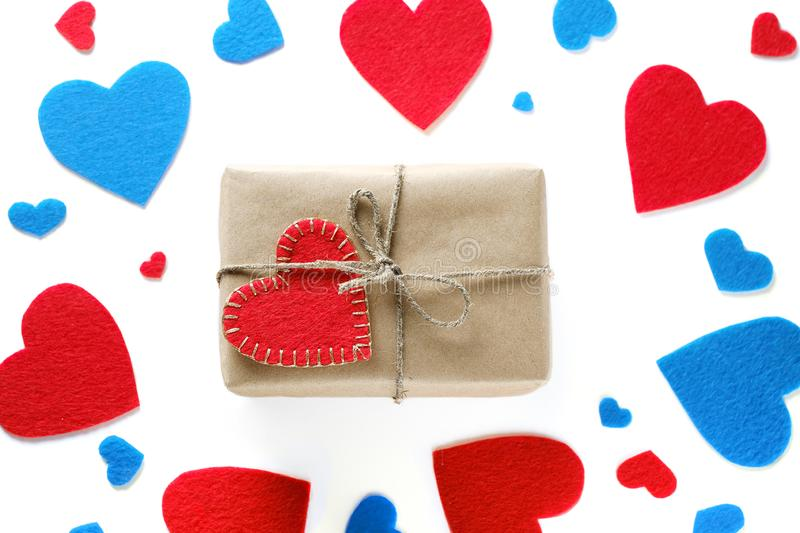 Background Of Red And Blue Hearts Or Valentines, On A White Background. A Gift For The Valentine`s Day Holiday.  stock photo