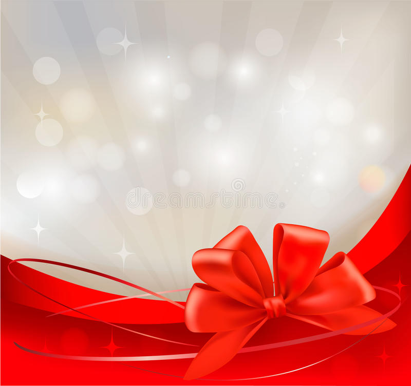 Background with red bow and ribbons. royalty free illustration