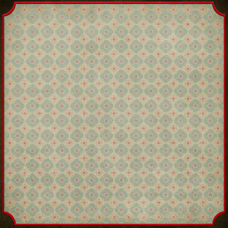 Background with red frame and retro wallpaper. royalty free illustration