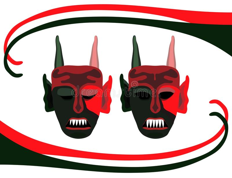 Background with red green devils masks stock photo