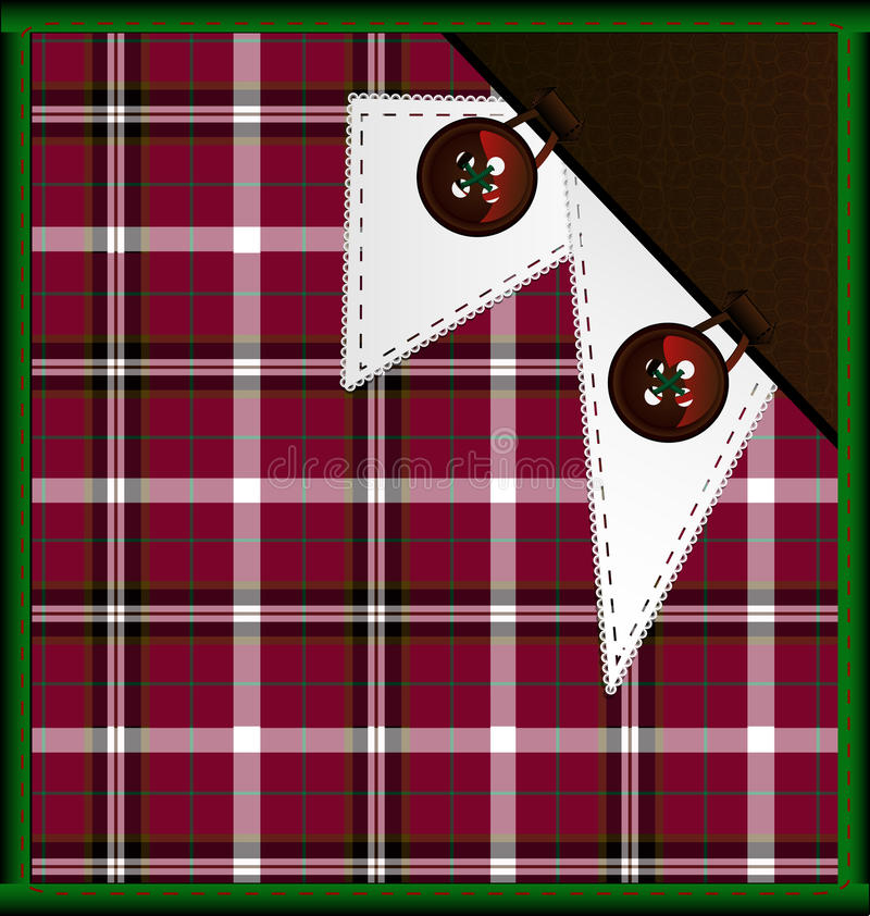 background red-green plaid with buttons royalty free illustration