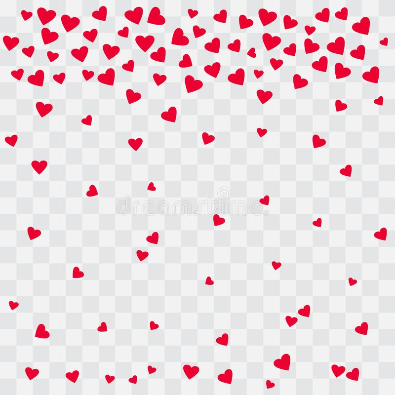 Background with red hearts. Falling hearts on transparent background. Vector stock illustration