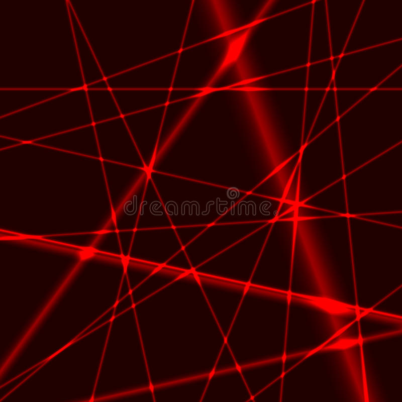 Background with red laser random beams. Red laser random beams on dark background royalty free illustration