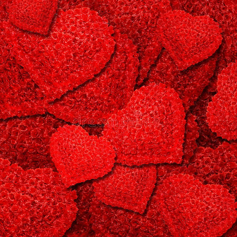 Background From Red Roses In The Form Of Heart Stock Images