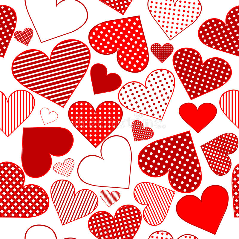 Background with red stylized hearts. Seamless pattern background with red stylized hearts royalty free illustration