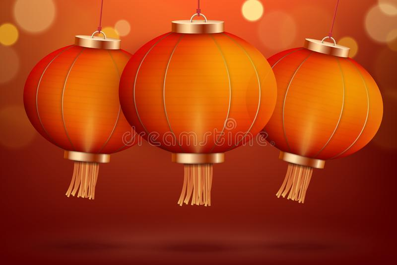 Background with Red Traditional Chinese lantern. Chinese new Year decoration.Vector illustration stock illustration