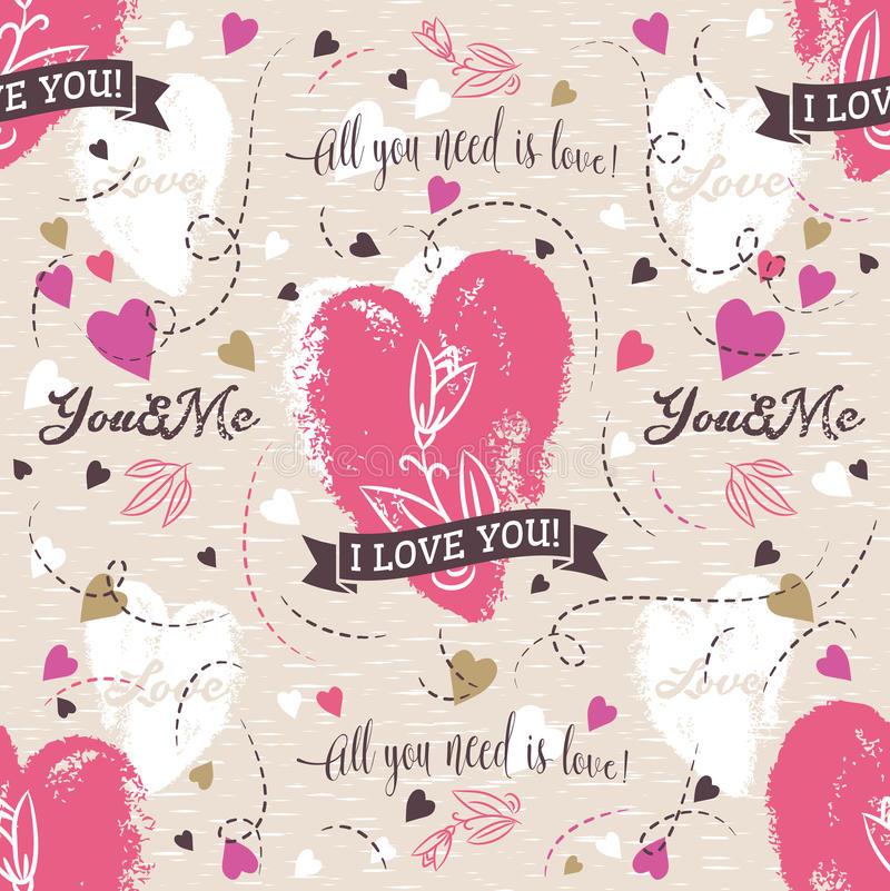 Background with red valentine heart , flower, wishes text royalty free stock photo