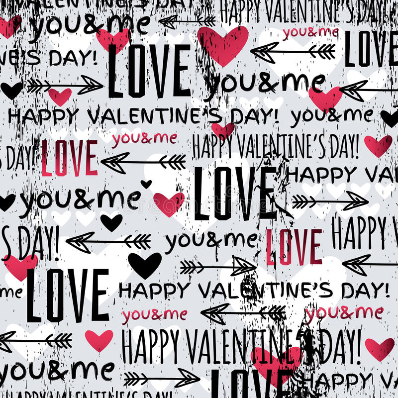 Background with red valentine heart and wishes te stock illustration