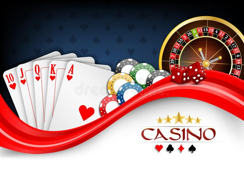 Background red white poker cards, casino chips and roulette wheel vector illustration