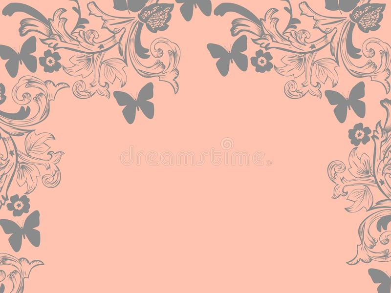 Background repetition flowers cards pink backgrounds white butterflies stock illustration