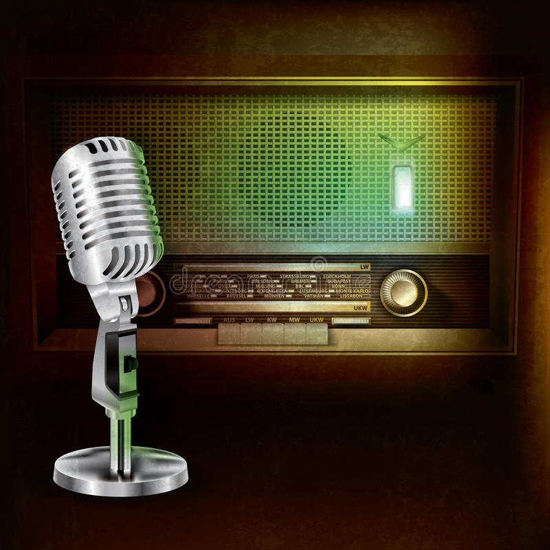 Background with retro radio and microphone. Abstract grunge background with retro radio and microphone vector illustration