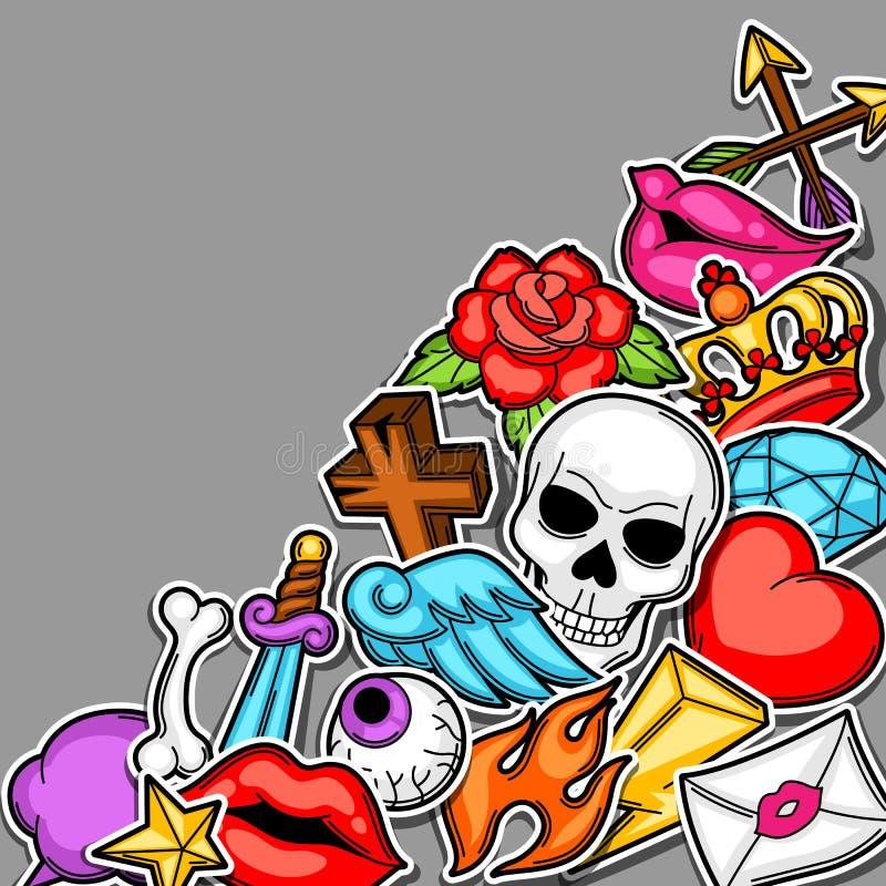 Background With Retro Tattoo Symbols Cartoon Old School