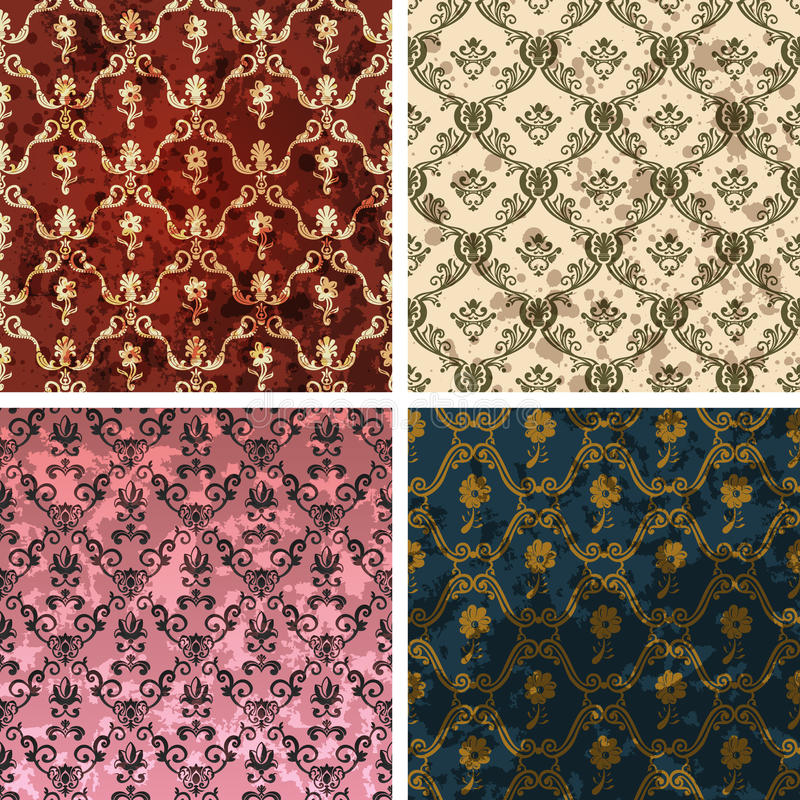 Background retro wallpaper vintage soiled. Background set of retro style wallpaper vintage and soiled with flowers. Vector illustration royalty free illustration