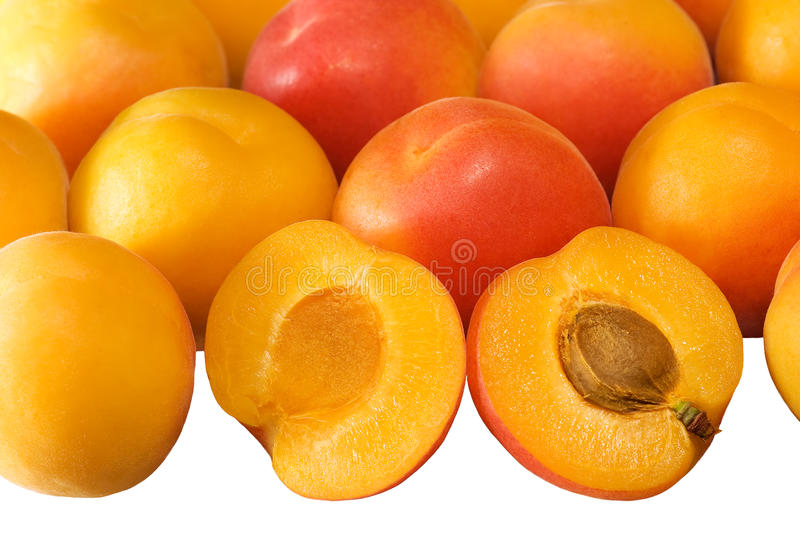 Background with ripe apricots on white. Background of riipe apricots with one sliced in half on white royalty free stock photography