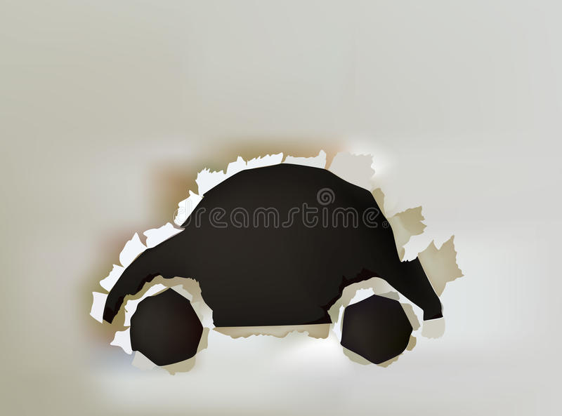 Background with ripped paper car. Illustration royalty free illustration