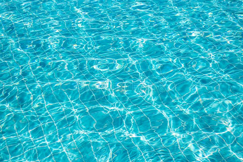 Background of rippled pattern of clean water in a blue swimming pool. Abstract, aqua, bright, clear, cool, fresh, light, liquid, nature, ocean, pure royalty free stock photo