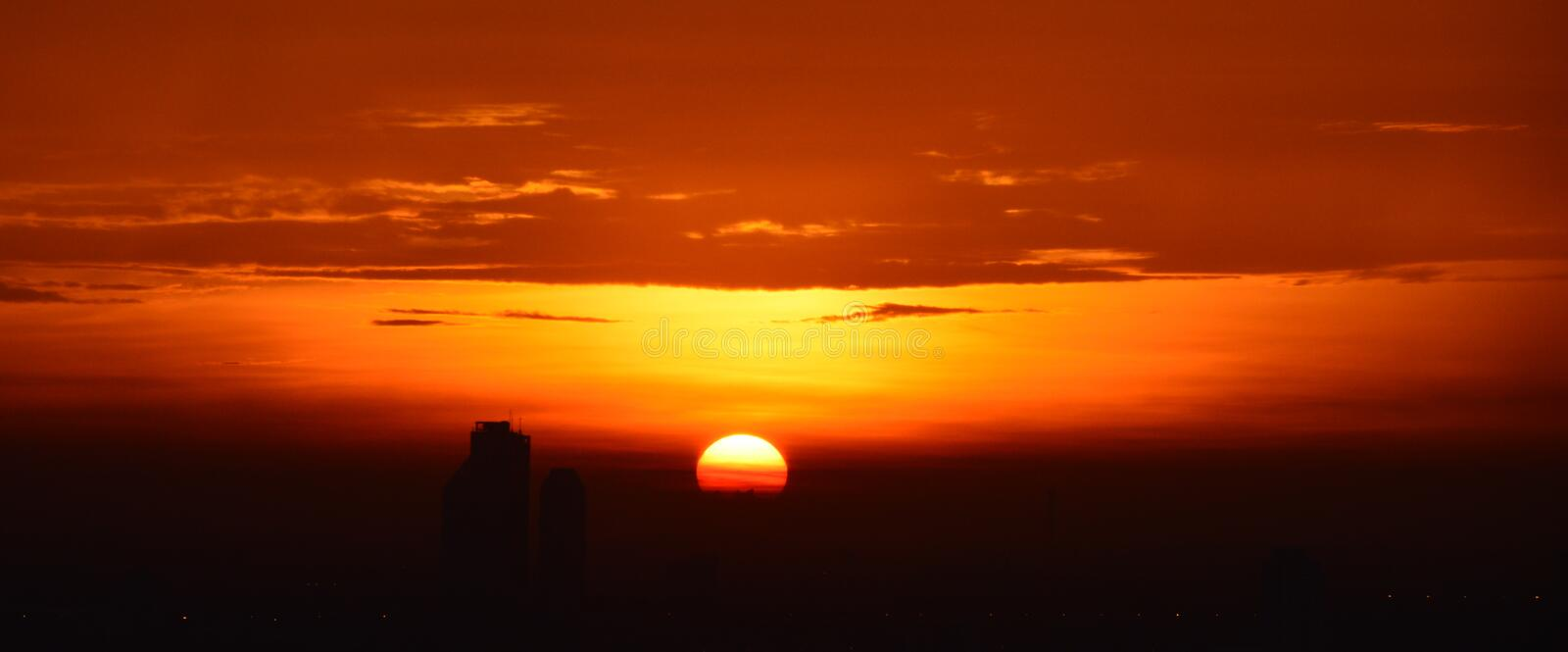 Background of the rising sun. From the top of my condominium stock images