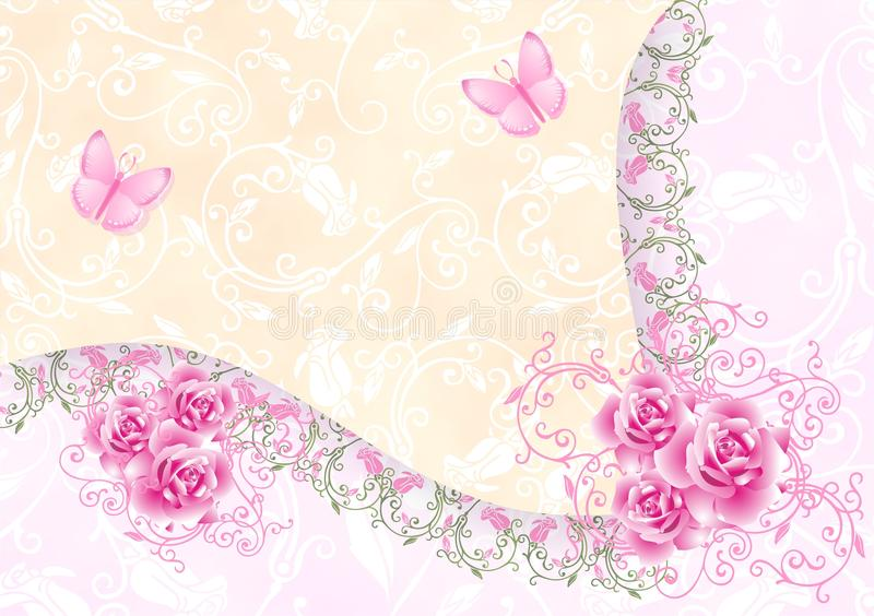 Download Background with roses stock illustration. Image of gift - 12544921