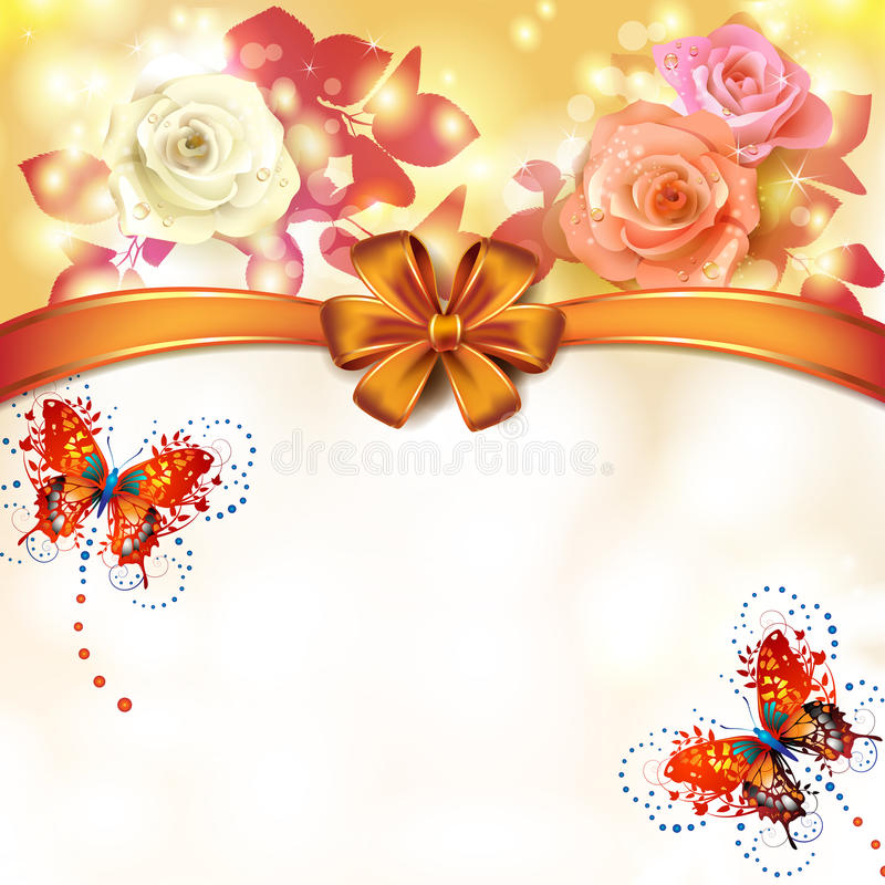 Background roses with butterflies vector illustration