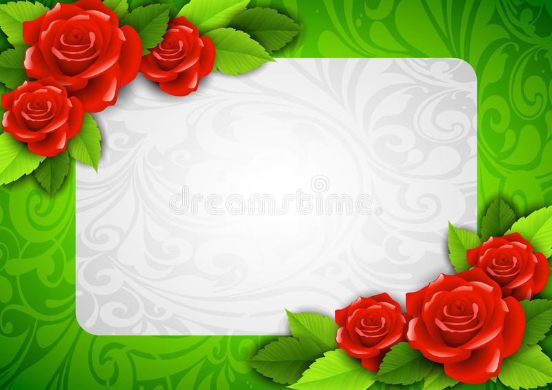 Background With Roses And A Place For Text Royalty Free Stock Image