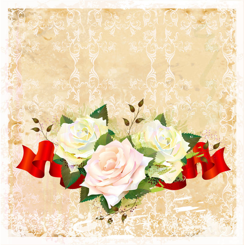 Download Background With Roses And Ribbon Stock Vector - Image: 26632100