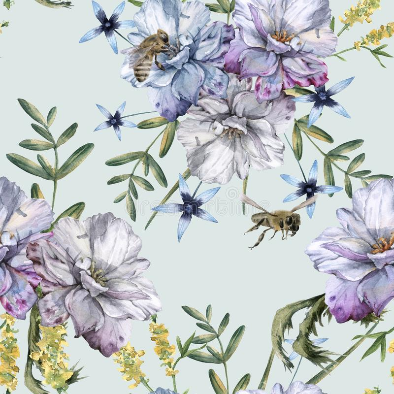 Background of roses with wildflowers and bees. Seamless pattern. vector illustration