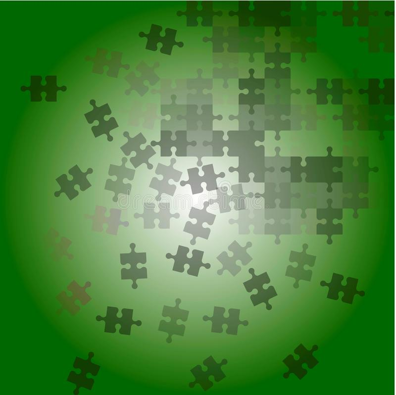 Background scattering puzzle green color. Vector color picture of abstract background scattering puzzle in blue color stock illustration