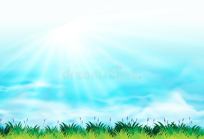 Background scene with blue sky and green grass vector illustration