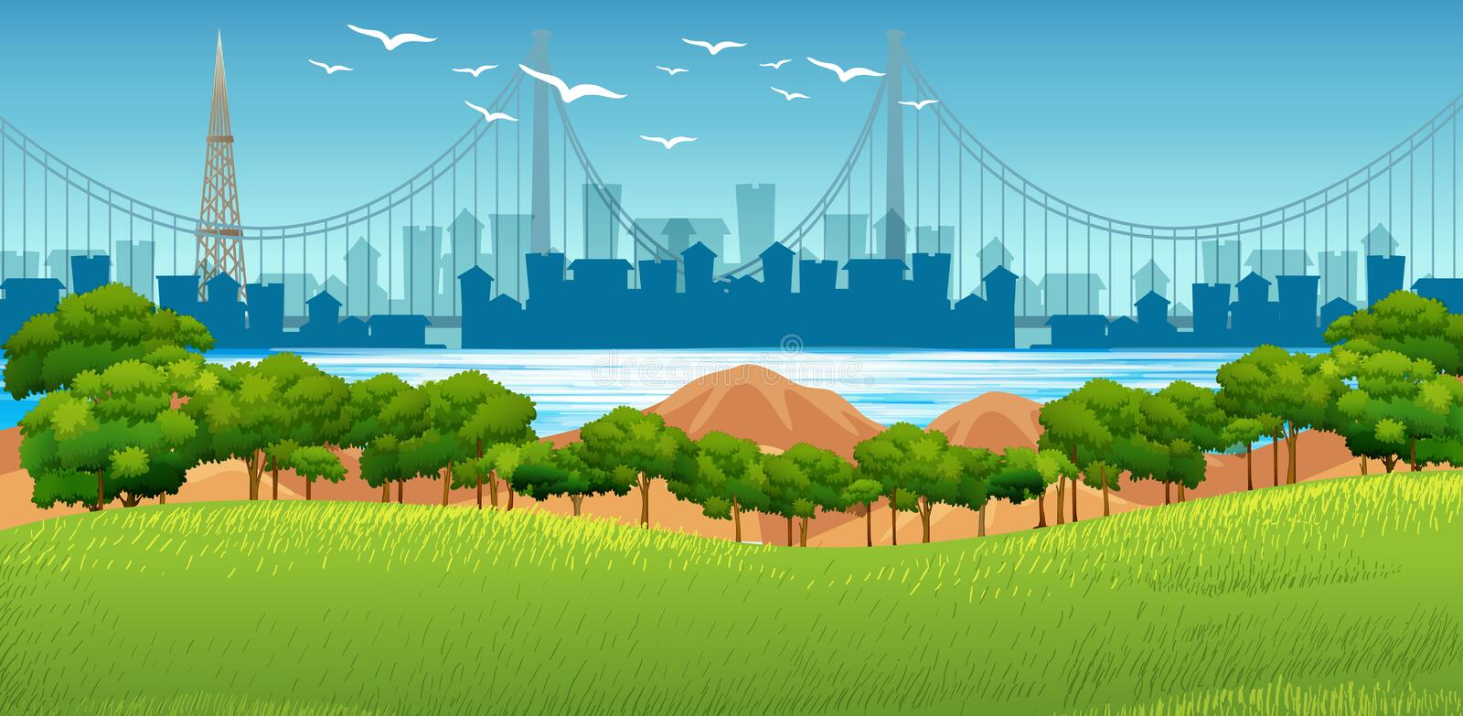 Background scene with buildings in background and park in foreground. Illustration stock illustration