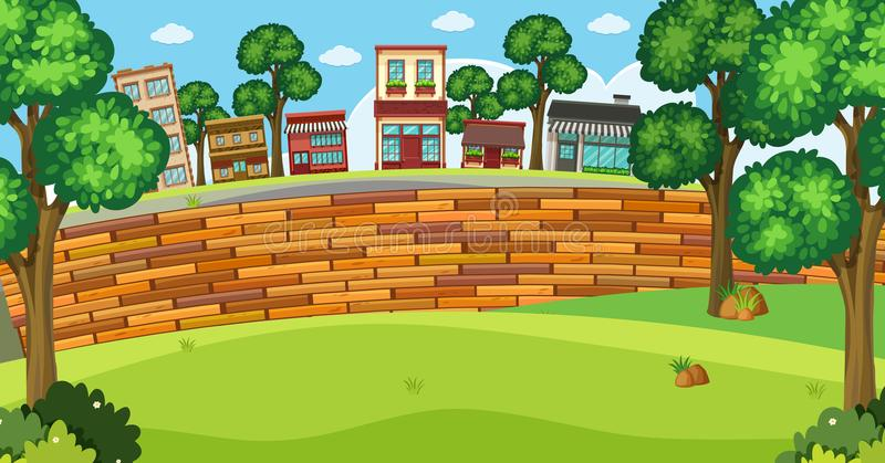 Background scene with buildings and brickwall stock illustration