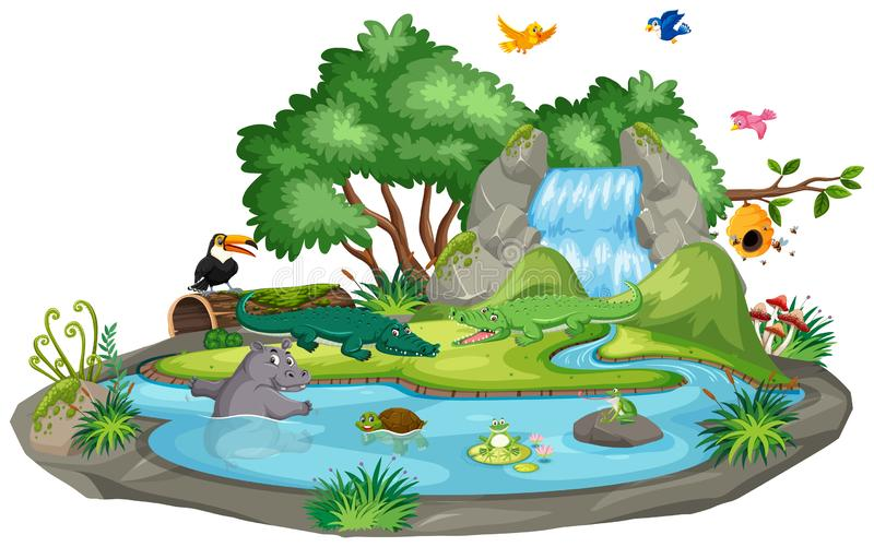 Background scene of crocodiles by the waterfall. Illustration royalty free stock photos